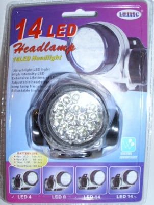Прожектор  . с 14LED светодиоден и ремък за глава