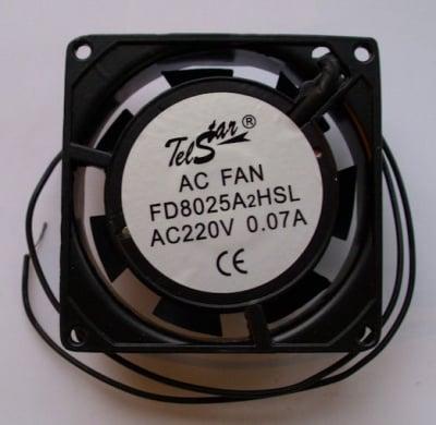 Вентилатор . 220V 80X80X25мм.