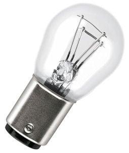 Автомобилна лампа . 12V/21/5W Бяла с 2 светлени и изместен цокъл