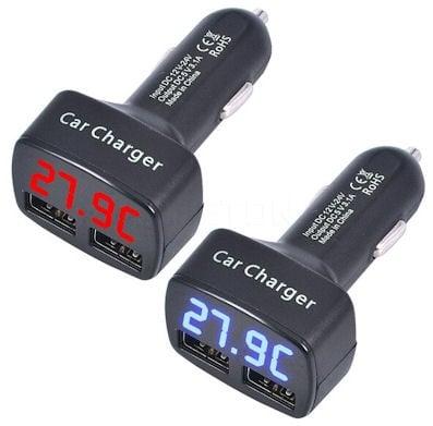 Адаптер . от 12V/24V на 5V 3,1A 4в1 дигитален термометър, волтметър, амперметър и USB зарядно за кола