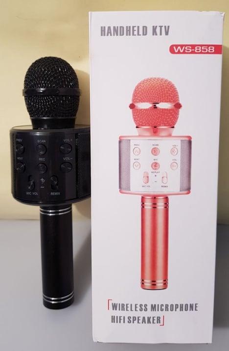 Микрофон . Безжичен HiFi USB WS-858 Ръчен Bluetooth микрофон с високоговорител