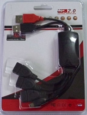 Кабел . компютърен преход 2-USB женски на 3-USB+1USB мъжки