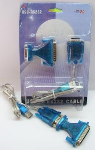 Кабел . USB женско на 9м+9ж на 25м USB-RS232