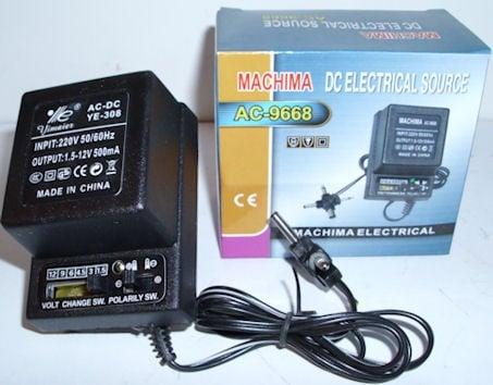 Адаптер . 220V-3/4,5/6/7,5/9/12V 0.5A  AC-9668/SL-308
